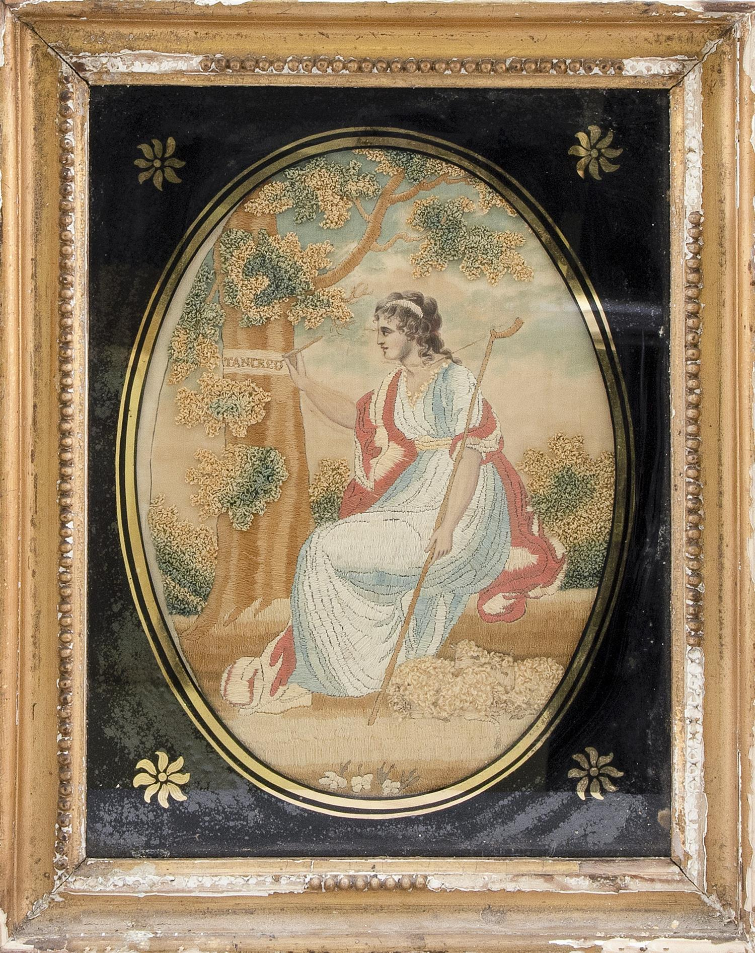 """ENGLISH NEEDLEWORK MEMORIAL Depicts a classically dressed maiden inscribing the name """"Tancred"""" on a tree. Tancred was an Italo-Norma..."""