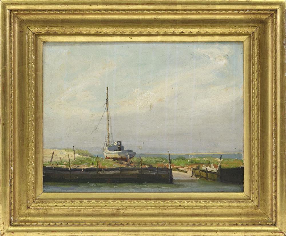 "ROGER DENNIS, Connecticut, 1902-1996, Sailboat drydocked on the beach., Oil on board, 12"" x 16"". Framed 18"" x 22""."