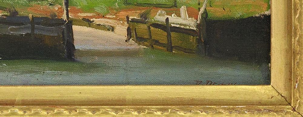ROGER DENNIS, Connecticut, 1902-1996, Sailboat drydocked on the beach., Oil on board, 12