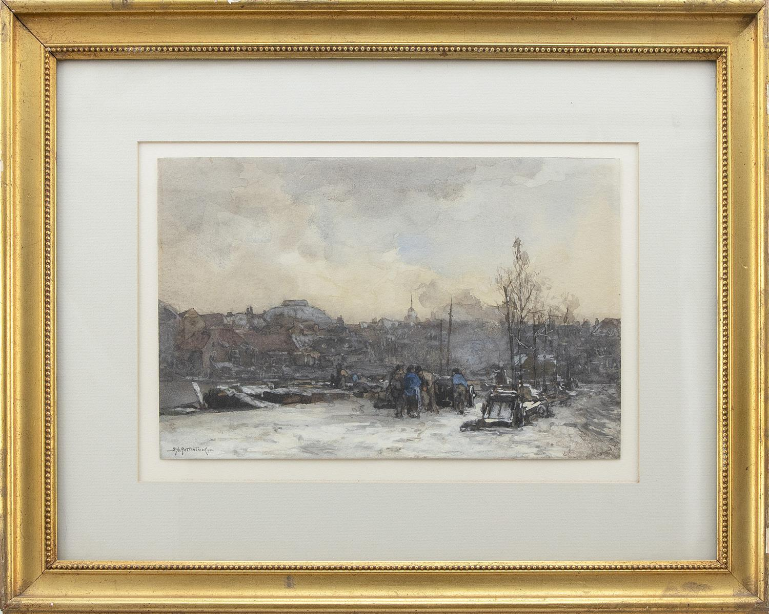 """JOHANN HENDRICK VAN MASTENBROEK, The Netherlands, 1875-1945, Figures gathering and a city in the distance., Watercolor on paper, 8""""..."""