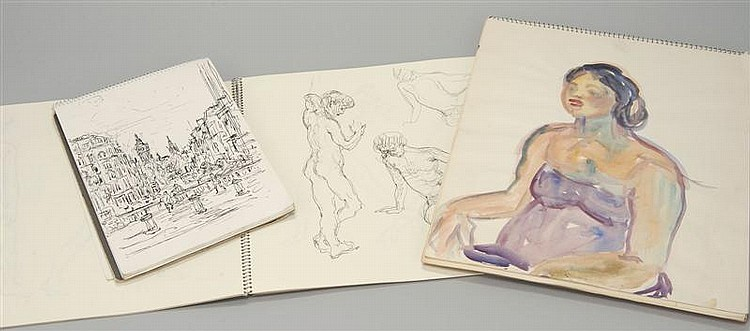 CLAUDE MARKS, British, 1915-1991, Three sketch books., Ink and some watercolor on paper.