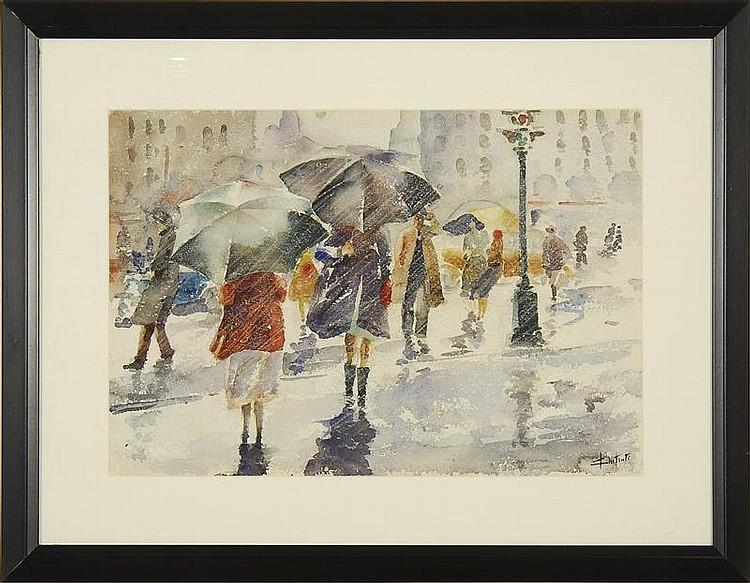 JOHN CHETCUTI, American, 1900-1976, City scene with figures holding umbrellas in the rain., Watercolor on paper, 14