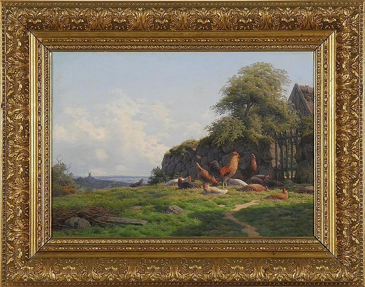 CARL-FREDERICK BARTSCH, Danish, 1829-1908, Country landscape with roosters., Oil on canvas, 12½