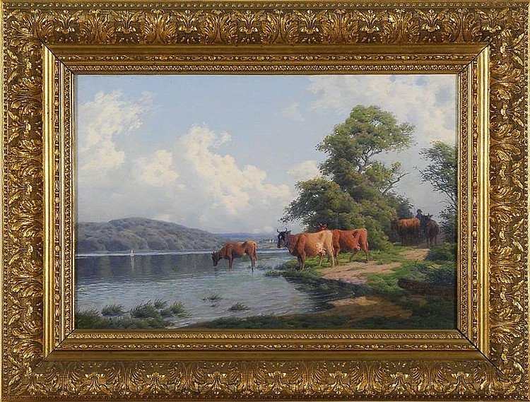 CARL-FREDERICK BARTSCH, Danish, 1829-1908, Cattle by the riverside., Oil on canvas, 12½