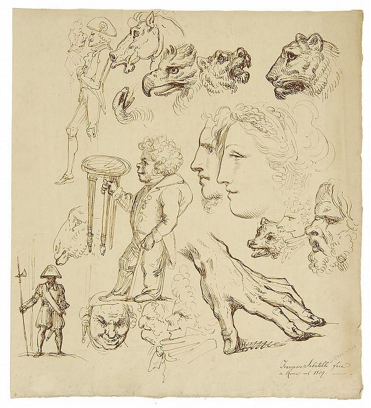 FRANCESCO SABATELLI, Italian, 1803-1829, Figural studies., Ink on paper, 15