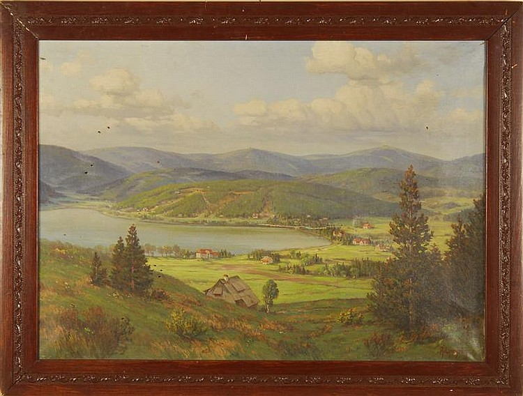 ARNOLD LYONGRUN, German, 1871-1935, Lake Titisee in the Black Forest, Oil on canvas, 26