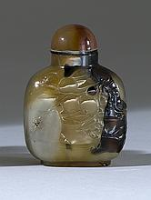 CHALCEDONY AGATE SNUFF BOTTLE In flattened ovoid form with peach, bird, and bamboo design. Height 2
