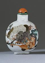 PORCELAIN SNUFF BOTTLE In flattened ovoid form. Depicting the Eight Horses of Wu Mang. Height 2.25