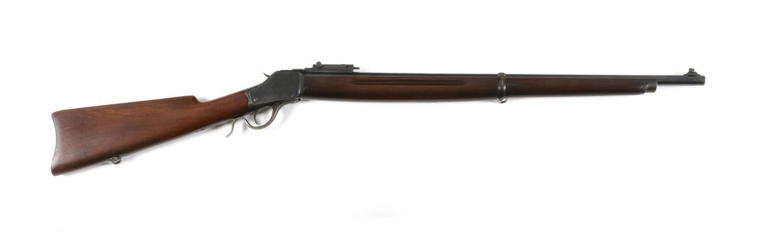 "* WINCHESTER MODEL 1885 HIGH WALL RIFLE .22 cal., Serial #121465. Blued finish. Minor wear. Length of barrel 28"". Overall length 44""."