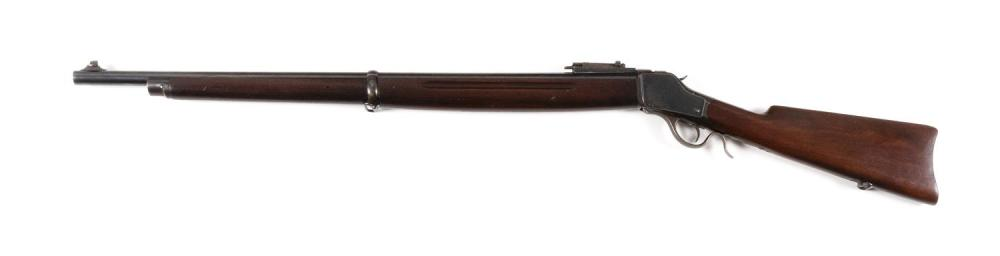 * WINCHESTER MODEL 1885 HIGH WALL RIFLE .22 cal., Serial #121465. Blued finish. Minor wear. Length of barrel 28