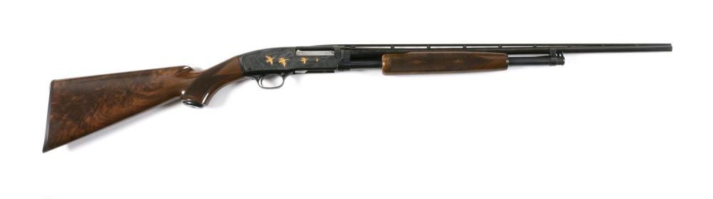 * BROWNING MODEL 42 GRADE V SLIDE-ACTION SHOTGUN .410-ga., Serial #02434. Choked at full. Vent ribbed barrel. Frame etched on left s...