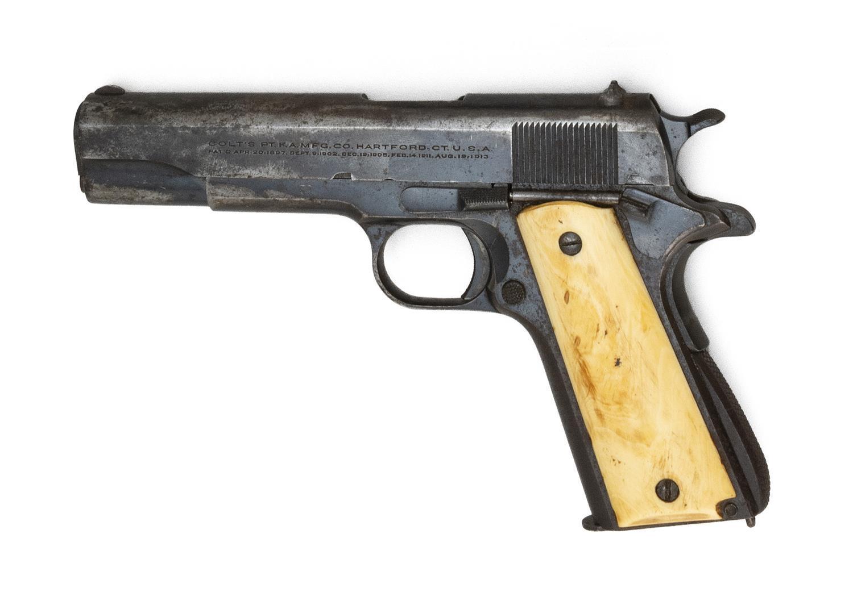 "* COLT MODEL 1911 CIVILIAN SEMI-AUTOMATIC PISTOL .45 cal., Serial #C159247. Bone grips. Blued finish. Length of barrel 5"". Overall l..."