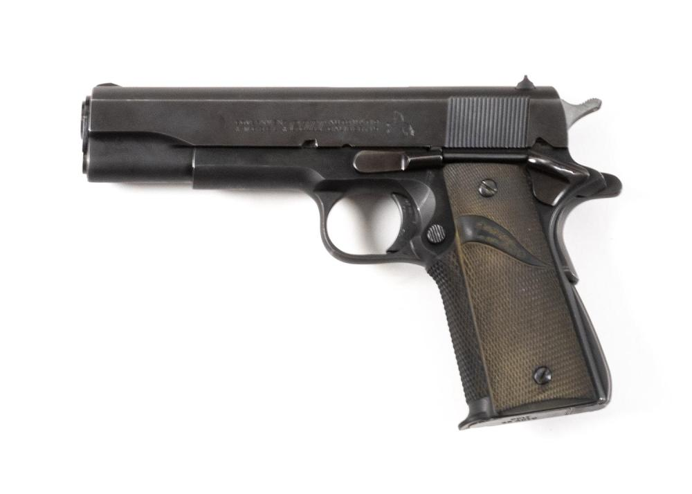 * COLT CIVILIAN GOVERNMENT MODEL SEMI-AUTOMATIC PISTOL .45 cal., Serial #331976C. Blued finish. Pachmayr rubber grips. Minor wear. L...