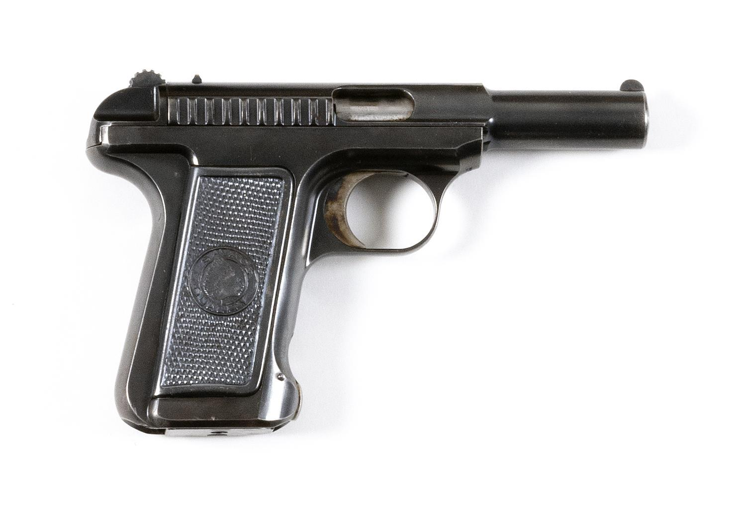 * SAVAGE MODEL 1907 SEMI-AUTOMATIC PISTOL .32 cal., Serial #2760. Blued finish; trigger with case colors. Hard rubber grips. Minor w...