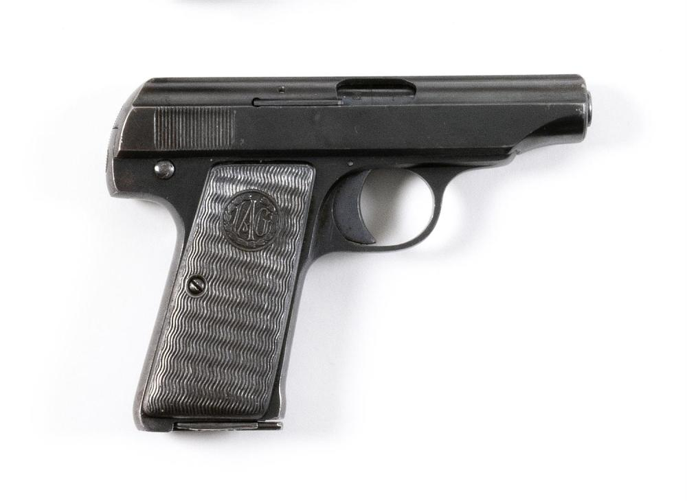 * INDUSTRIA ARMI MODEL 1930 SEMI-AUTOMATIC PISTOL 8mm, Serial #133389. Blued finish with some loss and scratches. Hard rubber grips....