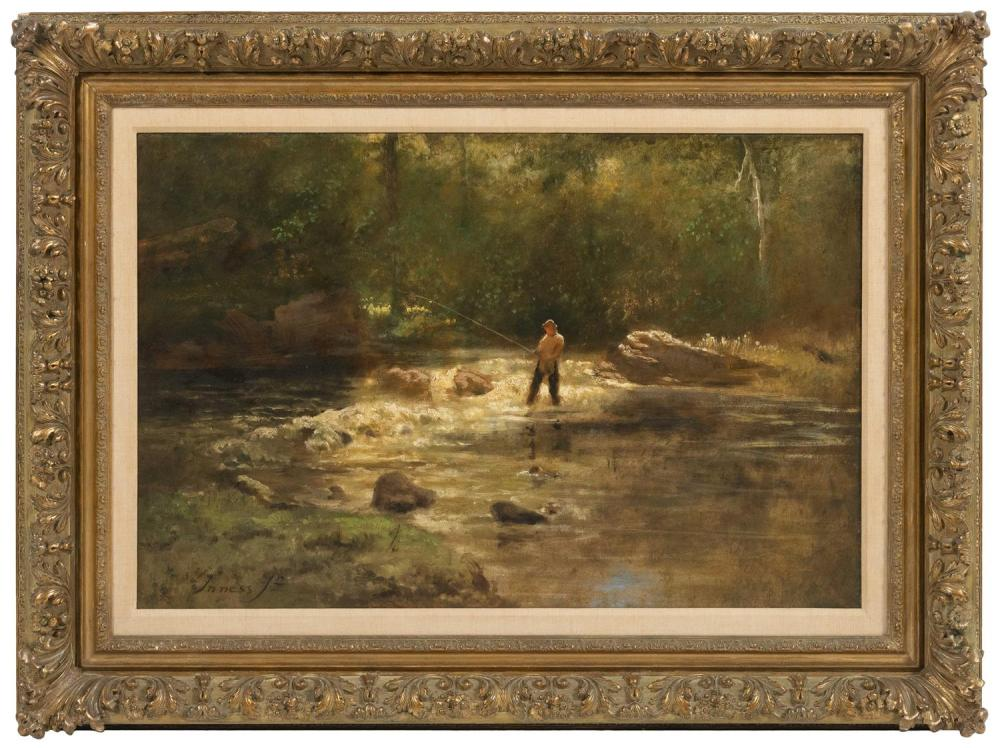 "GEORGE INNESS, JR., New York/Florida/France, 1854-1926, Gentleman fishing., Oil on canvas, 26"" x 36"". Framed 35"" x 47""."