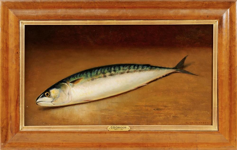 "CHARLES DREW CAHOON, Massachusetts, 1861-1951, Still life of a mackerel., Oil on board, 13"" x 23"". Framed 18"" x 28""."