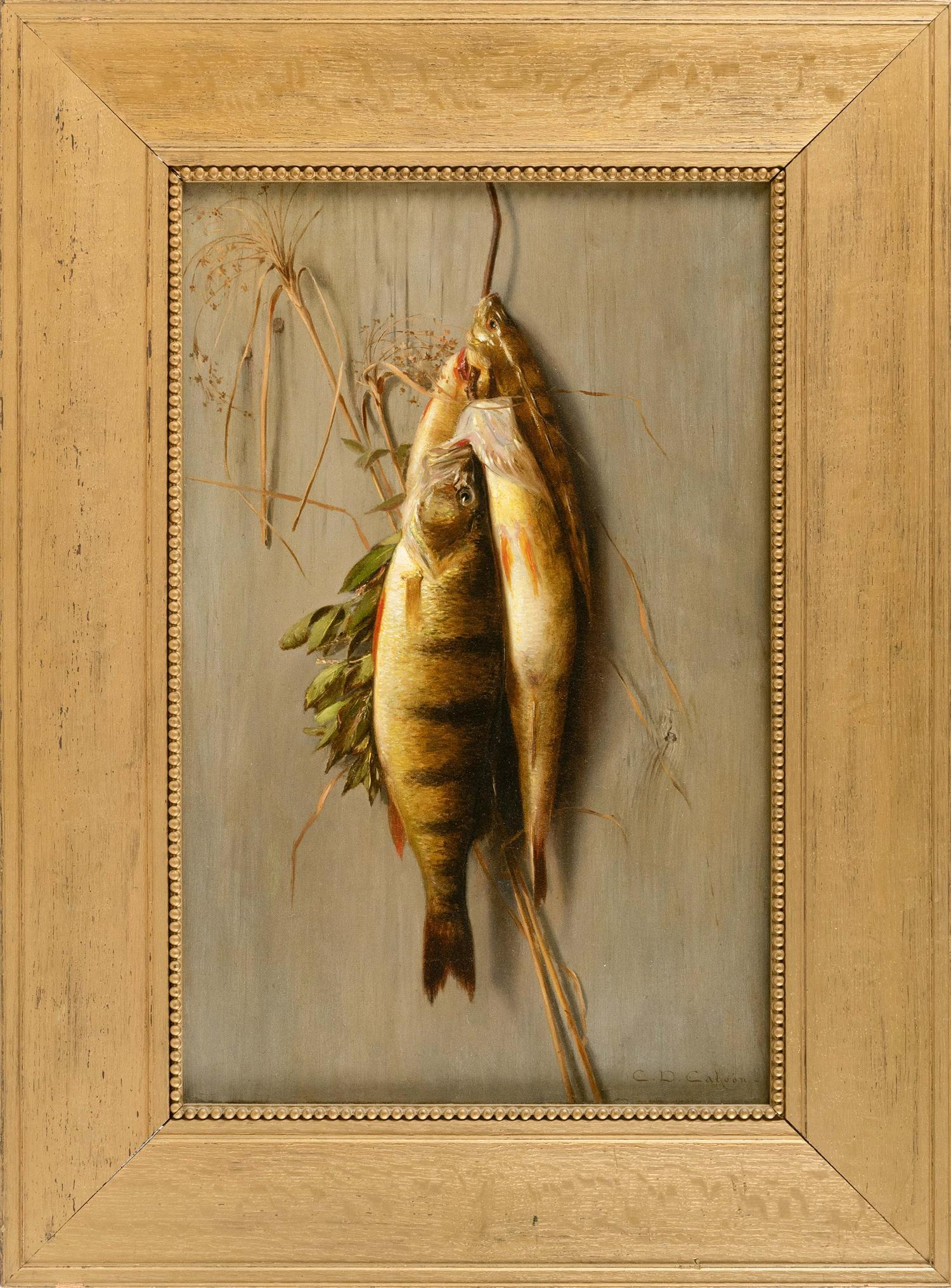 """CHARLES DREW CAHOON, Massachusetts, 1861-1951, Hanging yellow perch., Oil on canvas, 22"""" x 14"""". Framed 30.5"""" x 22""""."""