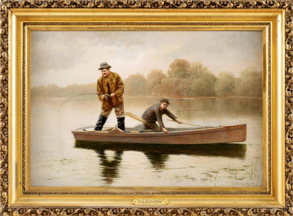"CHARLES DREW CAHOON, Massachusetts, 1861-1951, ""Man and Boy Fishing""., Oil on canvas, 16"" x 24"". Framed 22"" x 29.5""."