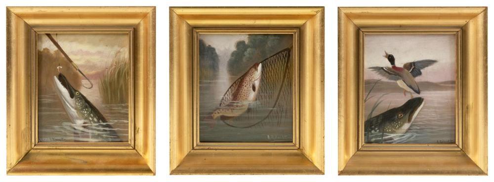 "A. ROLAND KNIGHT, United Kingdom, 1879-1921, Three fishing scenes., Oils on board, 7"" x 6"". Framed 10"" x 9""."