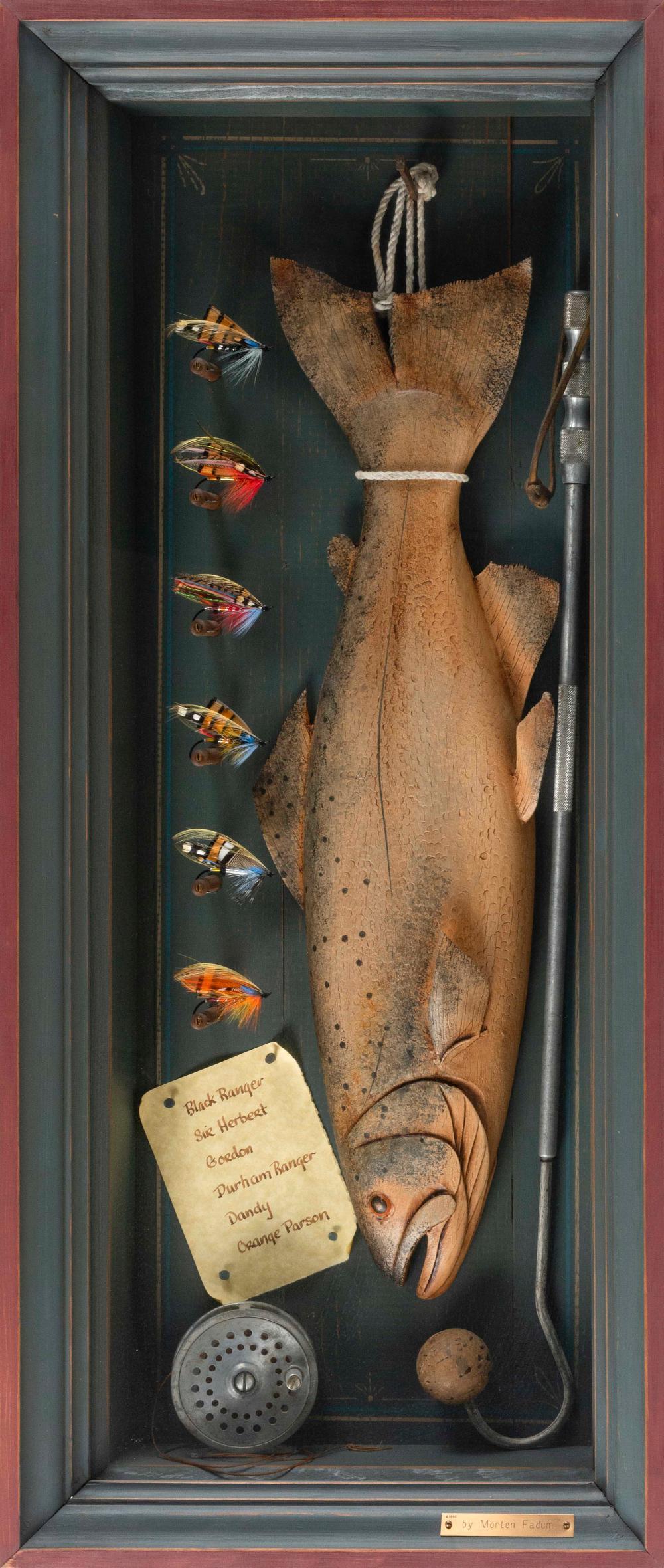 MORTEN FADUM, Illinois/Colorado, Contemporary, Shadow box still life of a salmon, fishing rod and flies.