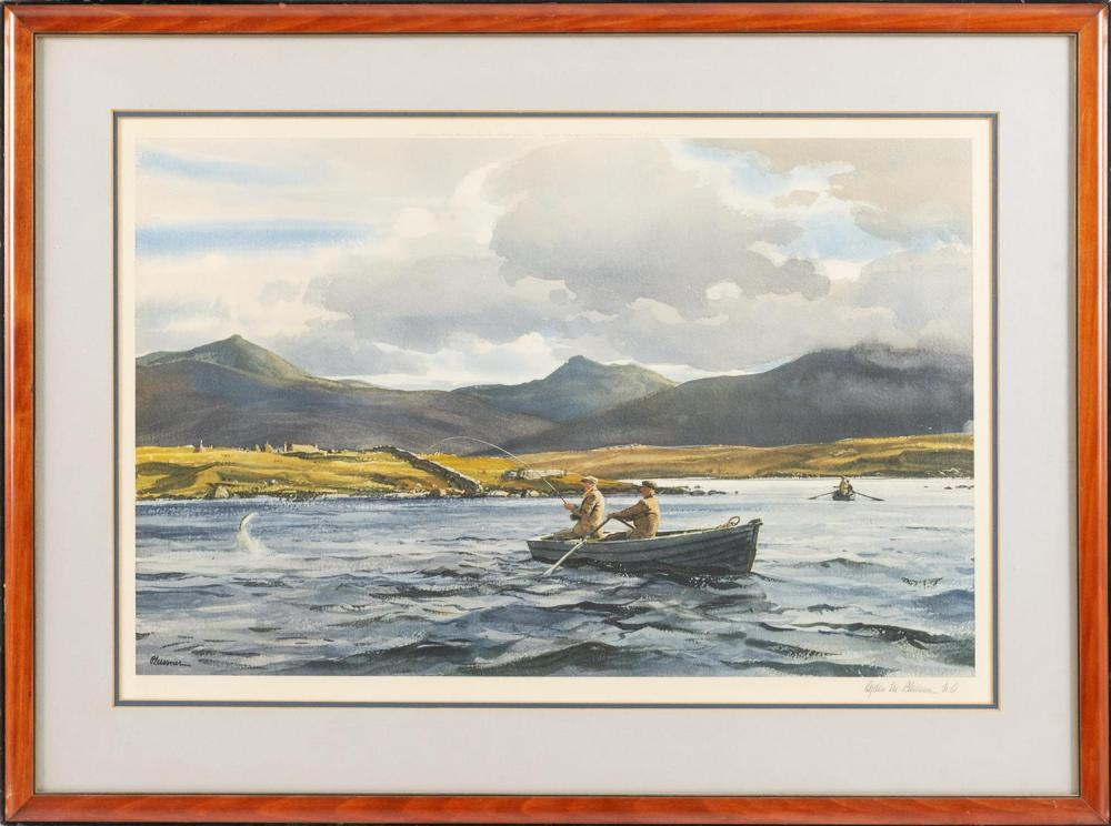 """OGDEN MINTON PLEISSNER, Vermont/New York, 1905-1983, """"Leaping Sea Trout""""., Lithograph on paper, 17"""" x 14.5"""". Framed 23"""" x 32""""."""