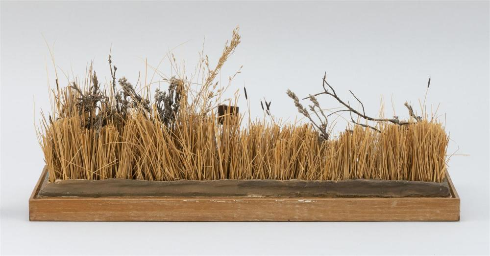 WATERFOWL DIORAMA BY A.C. GOULD Depicts eleven miniature decoys in a pond. Height 6.5