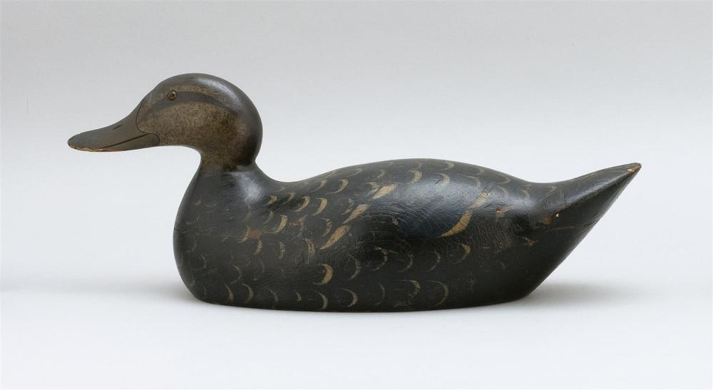 MASON DECOY FACTORY PREMIER GRADE BLACK DUCK DECOY Original paint with minor wear. Lightly hit by shot. Old repair to chip at top of...