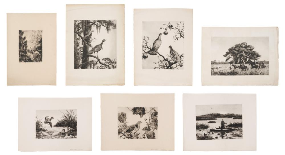 ATTRIBUTED TO AIDEN LASSELL RIPLEY, Massachusetts/New York, 1896-1969, Seven etchings:, Sizes vary. Unframed.