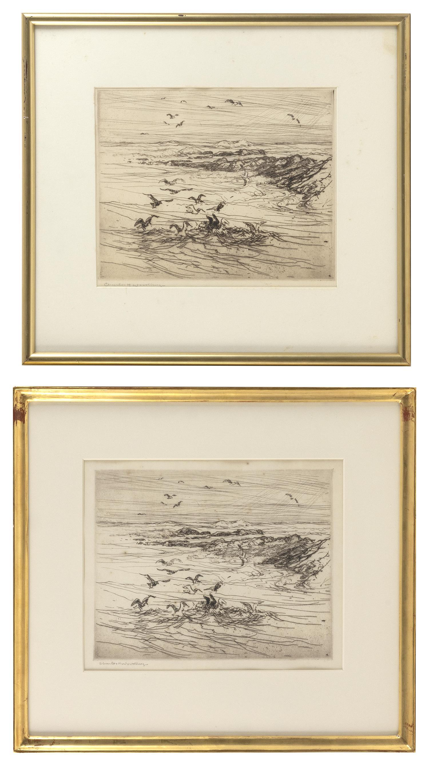 "CHARLES H. WOODBURY, Massachusetts/Maine, 1864-1940, Two scenes of feeding seagulls., Drypoint etchings on paper, 9"" x 11"" and 9.75""..."