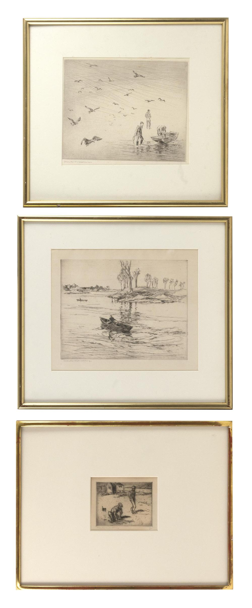 "CHARLES H. WOODBURY, Massachusetts/Maine, 1864-1940, Three sporting scenes., Drypoint etchings on paper, 10.75"" x 12.5"", 9.25"" x 10...."