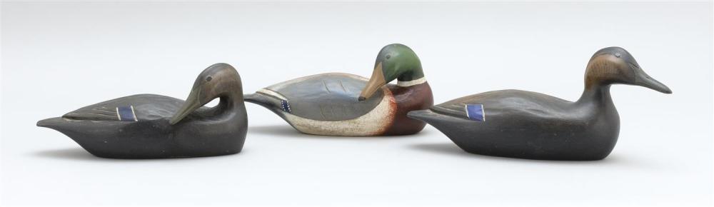 "THREE HANK WALKER HALF-SIZE DUCKS Two black ducks and a mallard drake. Lengths from 10"" to 12""."