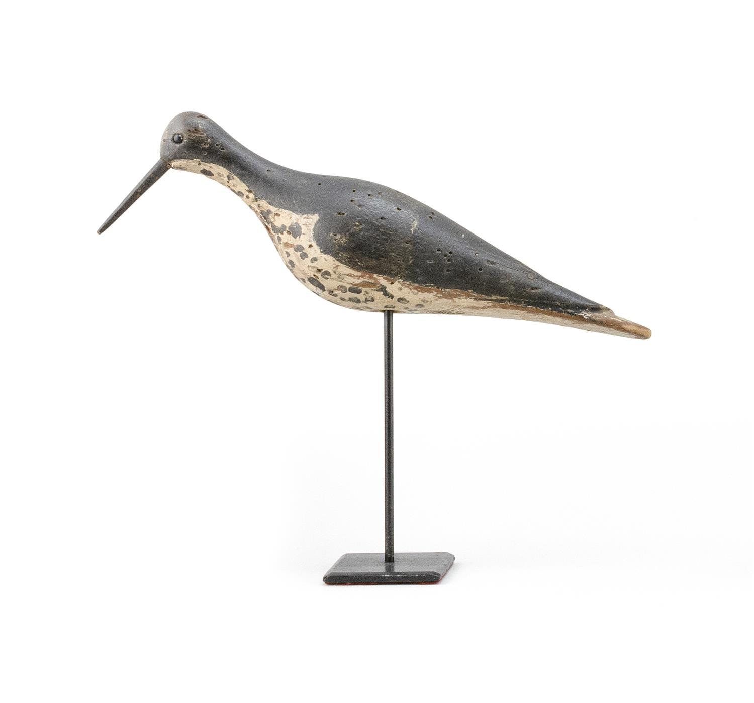 MASSACHUSETTS WILLET DECOY Maker unknown. Glass eyes. Replaced bill. Carved wing detail. Starr Collection stamp on underside. Length...