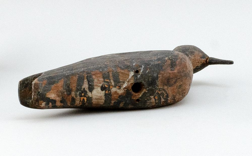 MASSACHUSETTS PLOVER DECOY Maker unknown. Original paint. Both sides hit with shot. Length 9.5