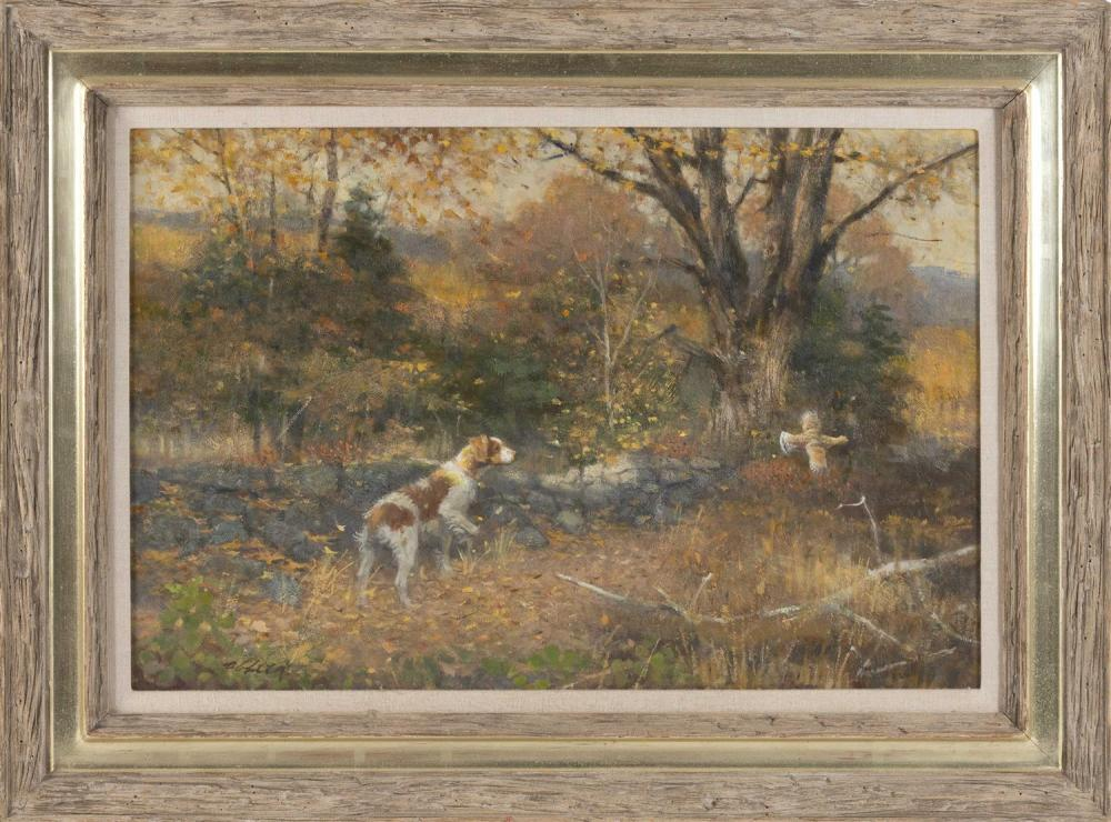 """ROBERT KENNEDY ABBETT, Connecticut/New York, 1926-2015, """"'Stone Wall Surprise' Brittany & Grouse""""., Oil on board, 20"""" x 30"""". Framed.."""