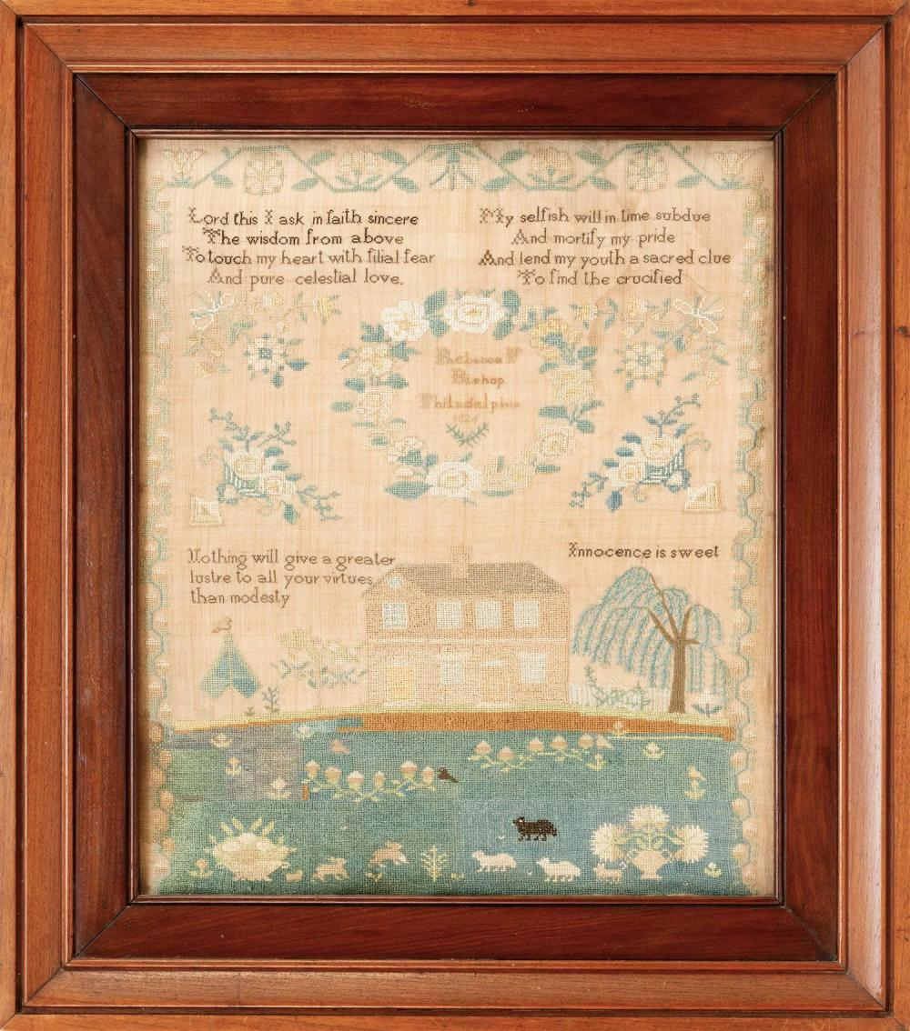 """PHILADELPHIA NEEDLEWORK SAMPLER Wrought by """"Rebecca F Bishop Philadelphia 1826"""". Maker's inscription contained within a central flor.."""