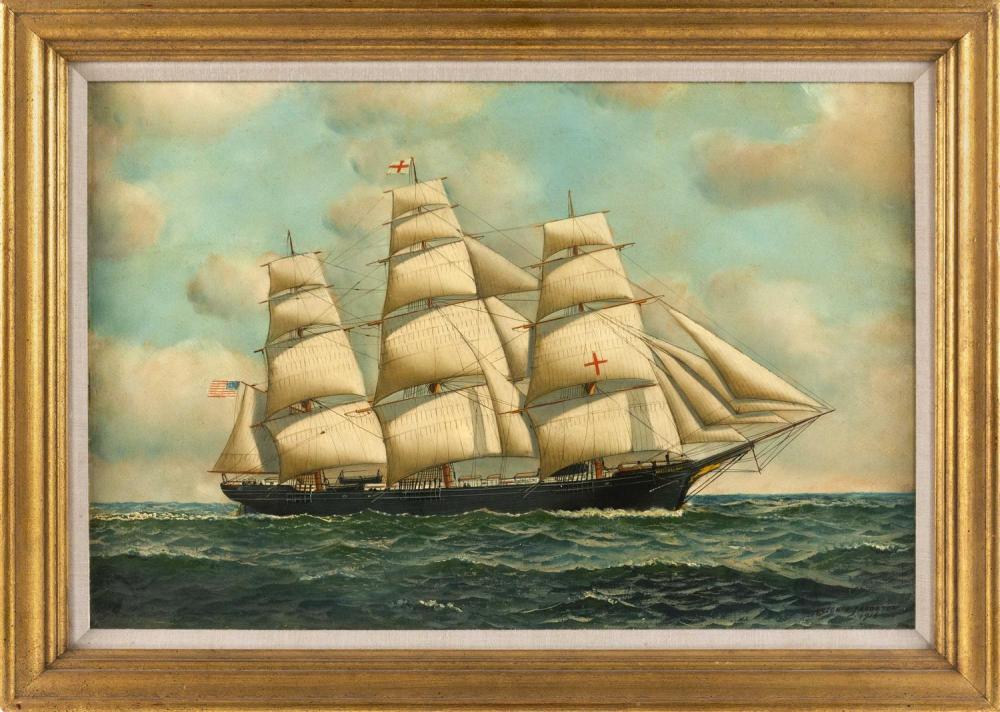 ANTONIO NICOLO GASPARO JACOBSEN, New York/New Jersey/Denmark, 1850-1921, The American clipper ship Dreadnought under full sail., Oil...