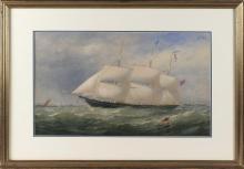 CHARLES TAYLOR, United Kingdom, 1833-1883, The clipper ship Biobio with a U.S. paddle steamer in the distance, circa 1856., Watercol...