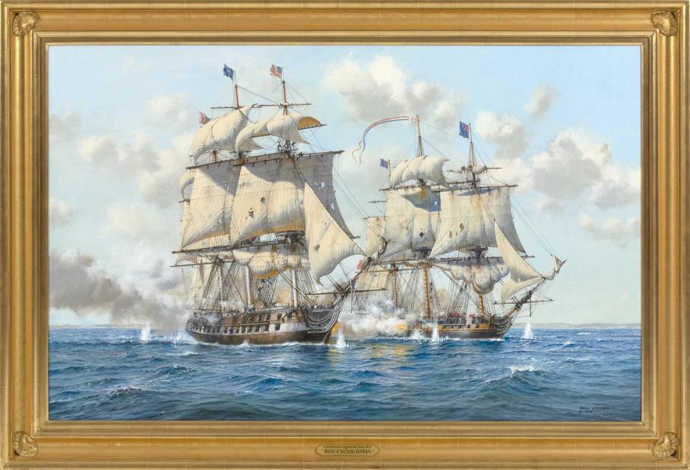 "ROY CROSS, United Kingdom, b. 1924, ""Constitution Captures Java 1812""., Oil on canvas, 30"" x 52"". Framed 37"" x 59""."