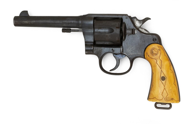 "* COLT MODEL 1917 REVOLVER .45 cal., Serial #289913. Bone Colt-marked grips. Blued finish. Length of barrel 5.5"". Overall length 10...."