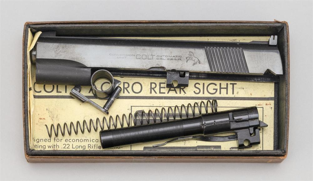 "COLT CONVERSION KIT Converts a pistol from a .45 cal. to a .22 cal. Includes extra barrel. Lengths 7.5"" and 5"". In original box."