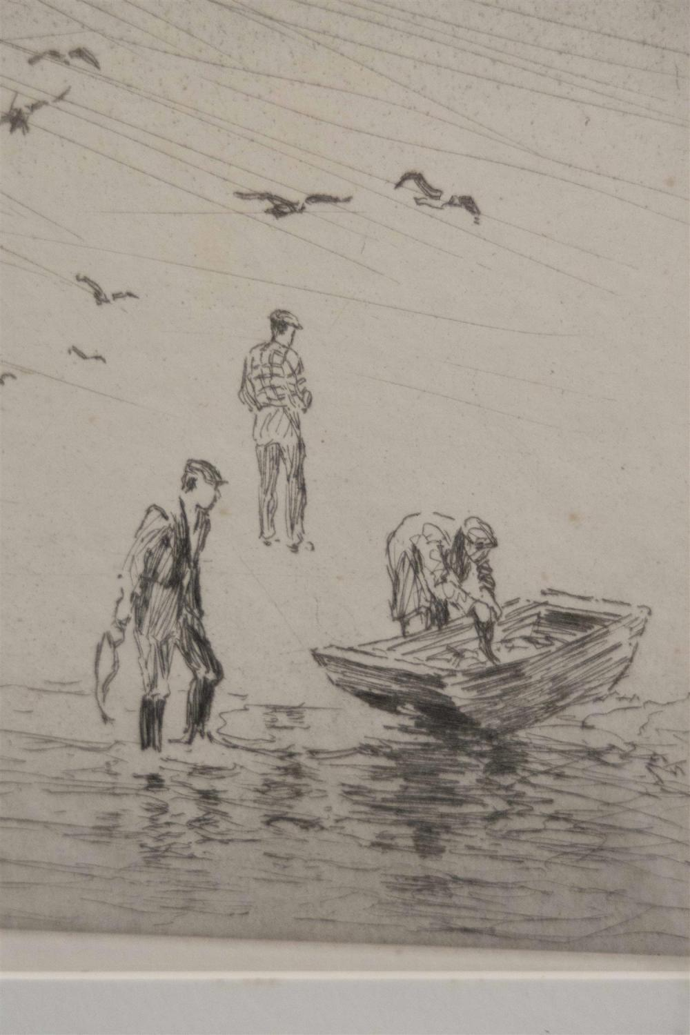 CHARLES H. WOODBURY, Massachusetts/Maine, 1864-1940, Three sporting scenes., Drypoint etchings on paper, 10.75