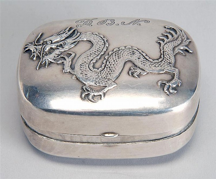 CHINESE EXPORT SILVER BOX With applied dragons on front and obverse. Monogrammed
