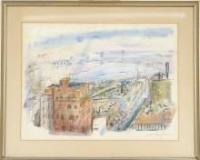 """ENIT KAUFMAN, New York, 1897-1961, New York with the Brooklyn Bridge in the background., Watercolor on paper, 18"""" x 25"""" sight. Frame..."""