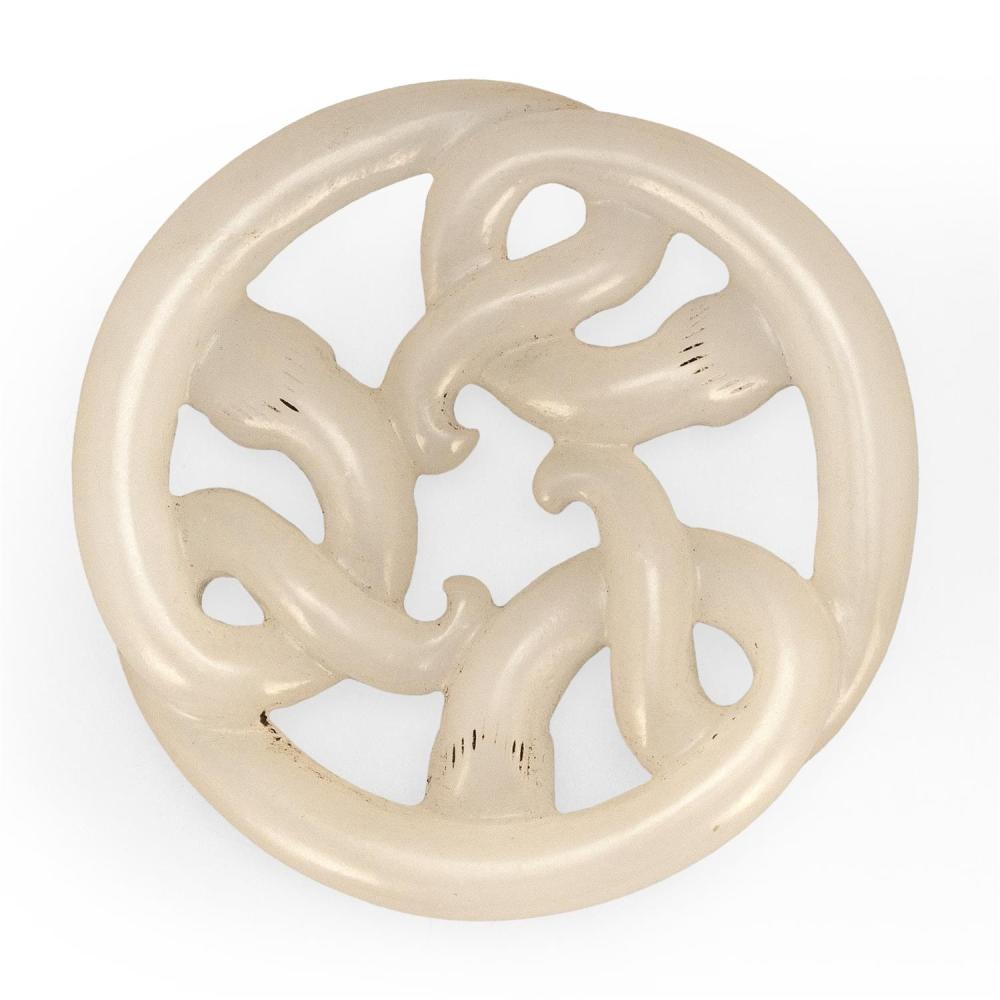 PURE WHITE JADE PENDANT In the form of three entwined sinuous chilong dragons (baby dragons). Diameter 2