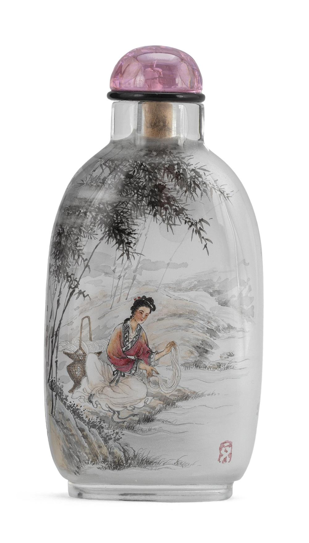 CHINESE INTERIOR-PAINTED GLASS SNUFF BOTTLE By Dong Xue in collaboration with his daughter. Modified rectangular bottle with figural...