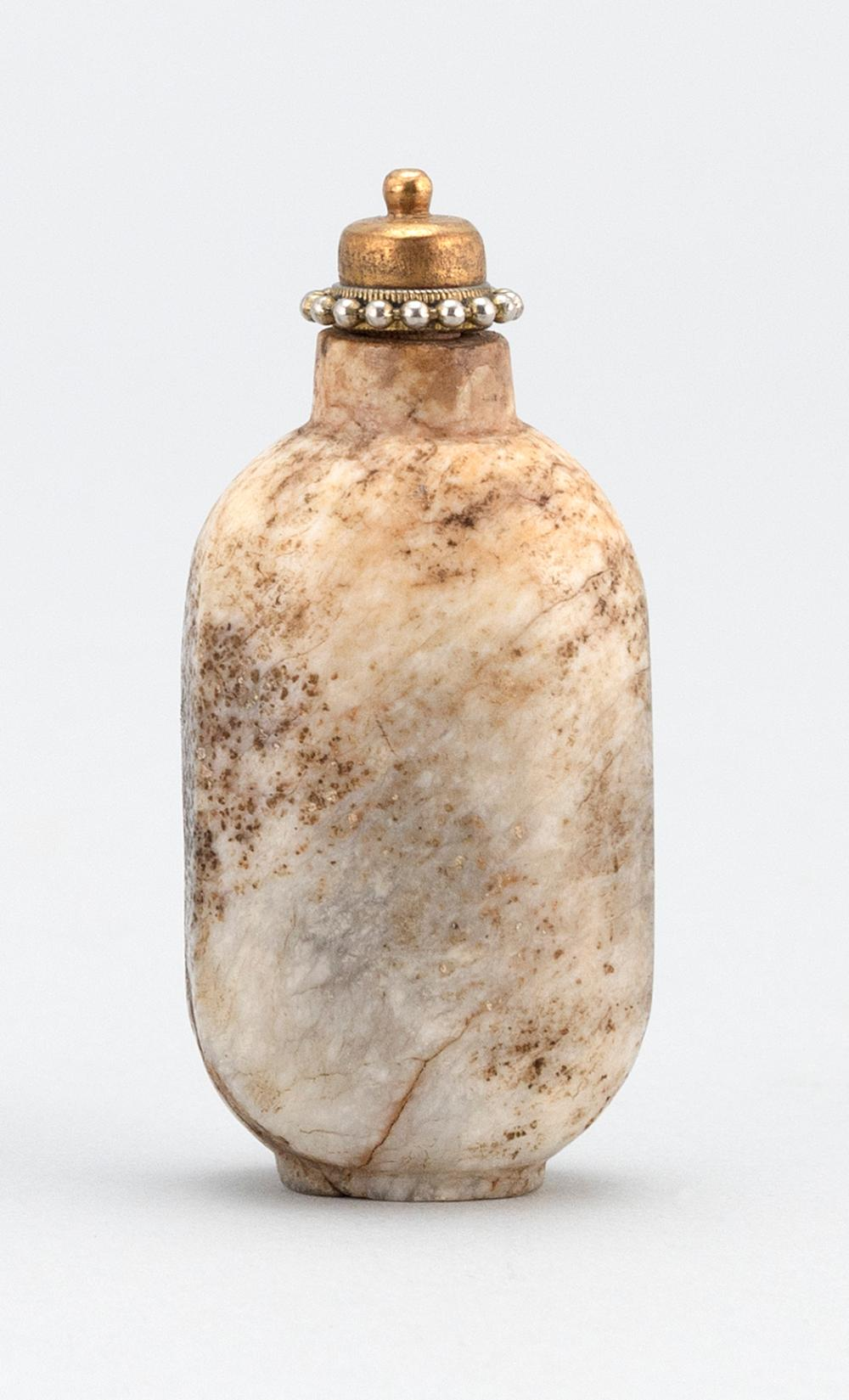 CHINESE CHICKEN BONE JADE SNUFF BOTTLE In modified rectangular form. Dramatic gray, brown and cream markings. Height 2.25