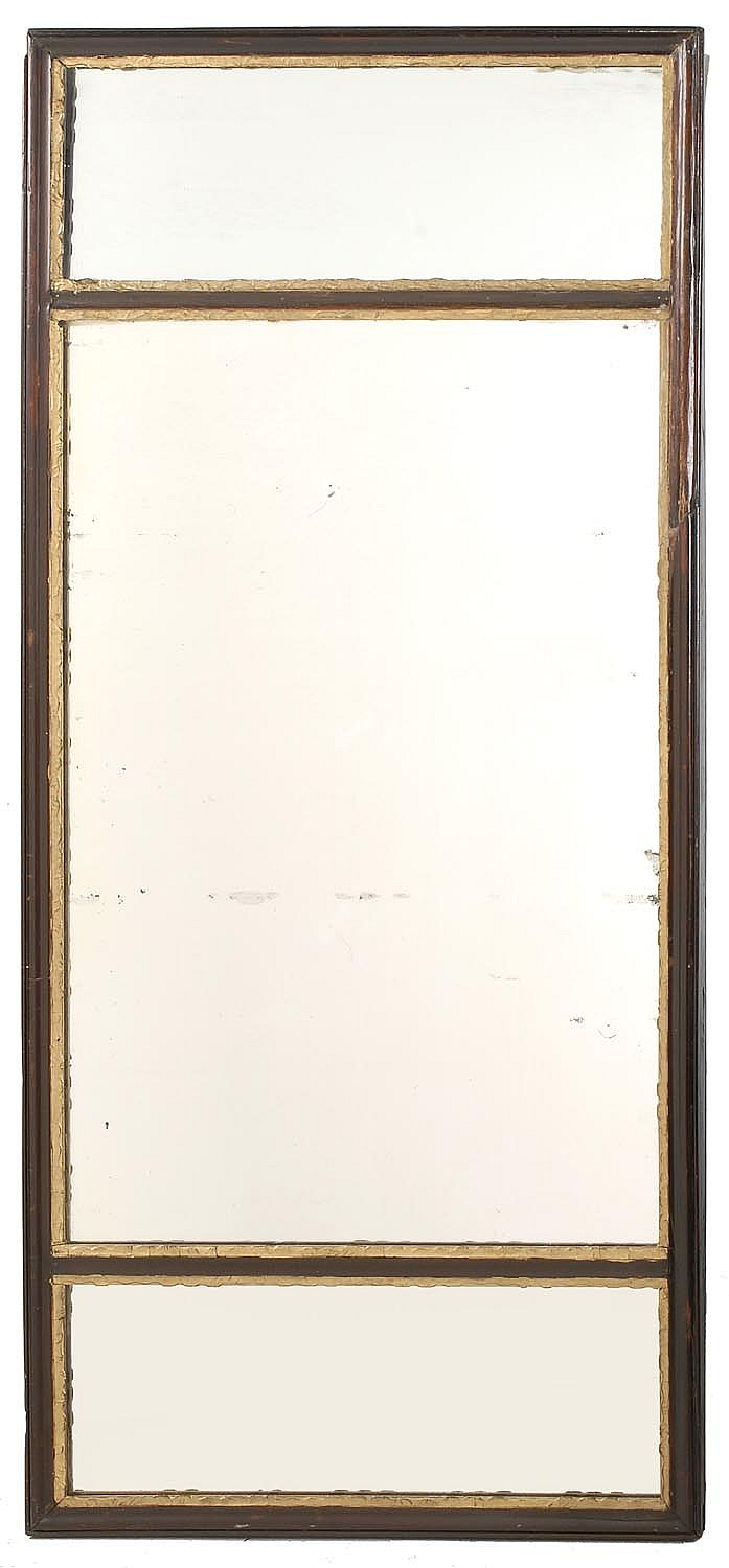OVERMANTEL THREE-SECTION MIRROR in wood frame with faux gilt liners. 20¼