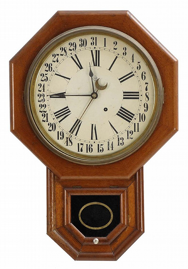 SETH THOMAS REGULATOR CALENDAR WALL CLOCK in oak. Roman numerals. Height 24