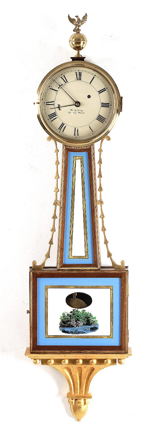 REPRODUCTION BANJO CLOCK with painted wood dial signed